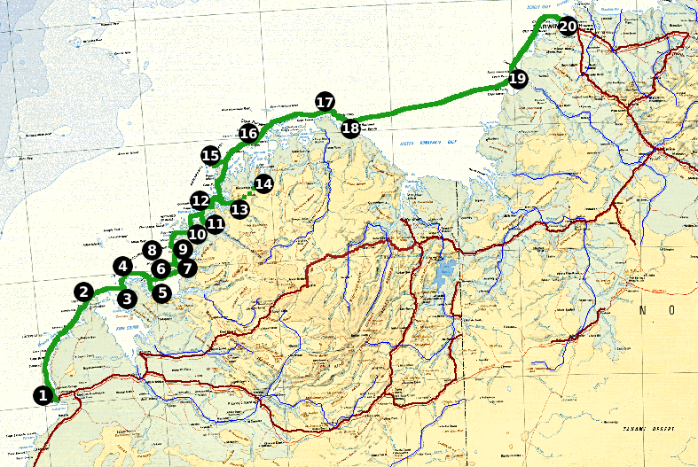 Expedition route, Broome (left) to Darwin (right)
