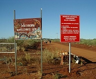 Entrance to Wirrimanu aboriginal community