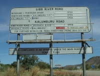 Road sign at start of Gibb River road