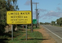 Sign: Limited Water next 423 km